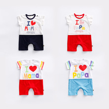 Peninsula Baby New 2017 Baby Romper Jumpsuit O-Neck Baby Romper Short Sleeve Cotton I Love PAPA/MAMA Baby Letter Rompers