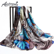 [AETRENDS] 2017 Brand Scarves Colorful Butterfly Print Silk Scarf Women Shawl Pashmina Z-2904()