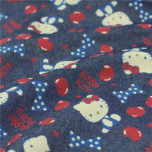140cm Width Hello Kitty Denim Fabric 100% Cotton Fabric Jeans Soft Cherry Kitty Cat Printed Denim Sewing Material Diy Baby Dress