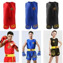 Men Women Boxing Martial Arts MMA Muay Thai Clothes Dragon Embroidered Vest Shorts Uniform Set
