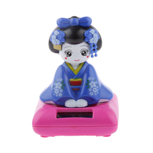 Adorable Solar Power Bobblehead Desk Table Toy Figure Nohohon Japanese Kimono Maiko Geisha Perfect Gifts for Adults and Children(China)
