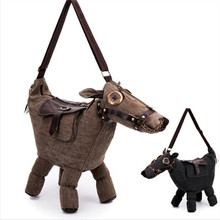 Donkey Canvas horse shape bag Unisex messenger bag special unique handbag party bag super cool style animal bag creative gift(China)