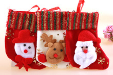 12pcs Christmas Stockings Enfeites De Natal Hand Making Crafts Children Candy Gift Bags Santa Bag Elk The Old Man Snowman Socks