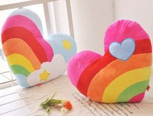 Candice guo! Hot sale colorful plush toy rainbow cloud heart cushion stuffed toy lover gift 1pc