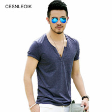 Plus Size S - XXL mens t shirts fashion new casual short sleeve V neck cotton men t shirt brand print T-Shirts Tops T010