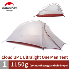 Naturehike 1 Person Tent Double-layer Camping Dome Tent 1.1kg Lightweight 20D Silicone/210T Plaid Fabric Tent NH15T001-T