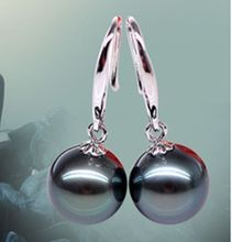 Hot sale new Style >>>> 10mm Genuine Black South Sea Shell Pearl Sterling Silver Earrings AAA(China)