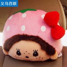 Cute Monchhichi Monchichi plush doll car headrest neck pillow cute cartoon strawberry powder vehicle headrest 2pcs per lot(China)
