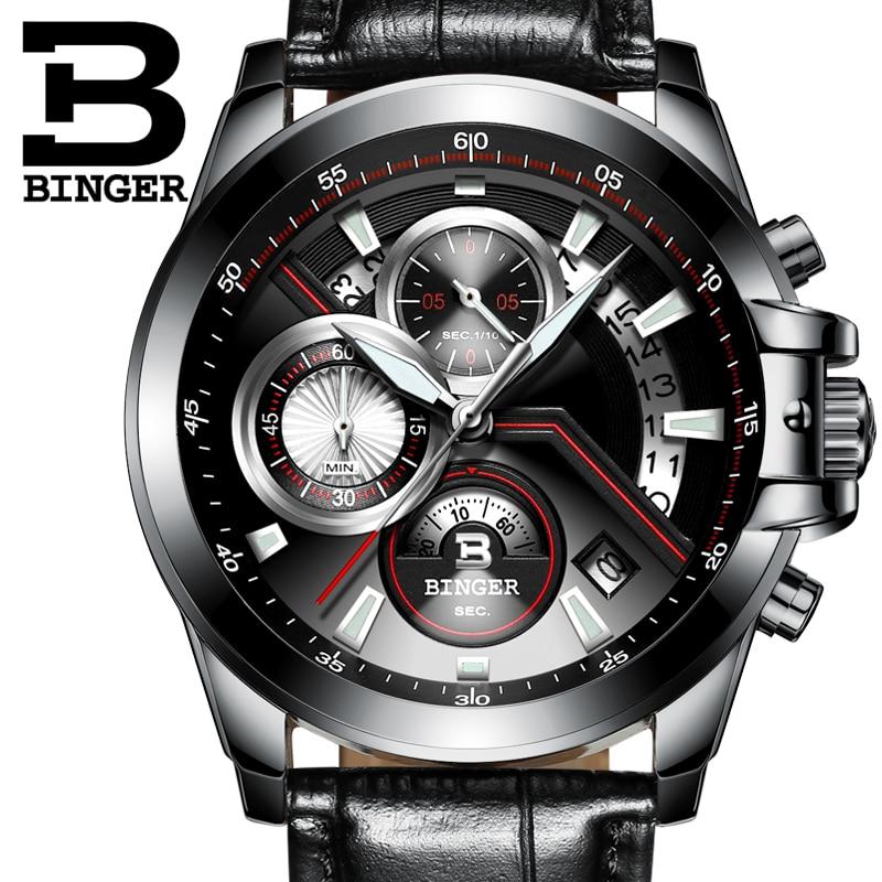 Newest Luxury Brand BINGER Men business Watches Fashion Casual Watches Quartz Clock Military watches Leatcher Wristwatches <br>