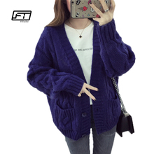 Fitaylor 2017 Autumn Winter Harajuku Warm Sweaters Women Short Design Loose Fit Twist Cardigan Sweater Coat