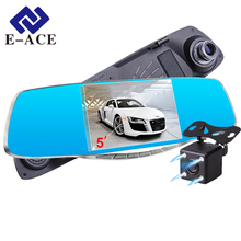 "E-ACE Car DVR 5.0 ""Car camera Full HD 1080P Night Vision Auto Video Recorder Rear view Mirror Dual Lens Parking Monitor Dash Cam(China)"