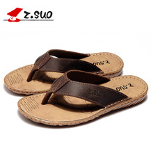 Z. Suo men's flip-flops big size leisure fashion leather Sandals Light Beach Slipper waterproof Men Zapatos Hombre(China)
