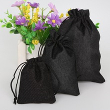 New Arrival 5pcs/lot Black Decorative bags Linen Cotton Drawstring Bag Christmas/Wedding Gift Pouch Product Packaging Bags(China)