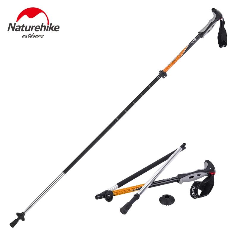 Naturehike Carbon Steel Hiking Cane Walking Stick Trekking Pole Alpenstock Ultra-light Adjustable 1PCS 4 Section 2 Color 280g<br>