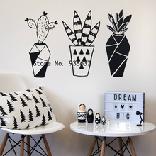 Geometric Cactus Wall Stickers Home Decor Living Room Creative Plant Wall Decoration Removable Vinyl Wall Decals Bedroom ZA693(China)