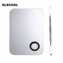 ELECOOL Stainless Steel Makeup Mixer Nail Art Polish Mixing Plate Foundation Eyeshadow Eye Shadow Mixer Palette with Spatula Rod