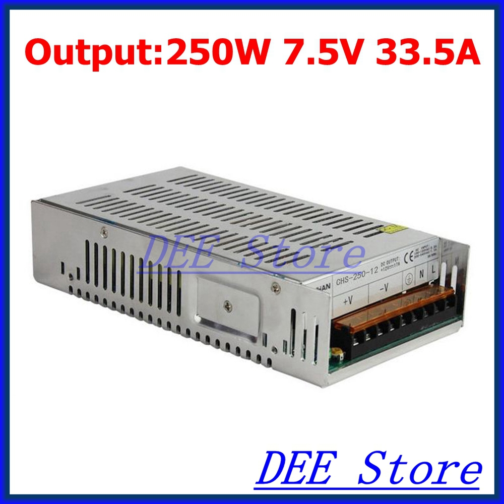 250W 7.5V(6.75V~8.25V) 33.5A Single Output Adjustable Switching power supply unit for LED Strip light Universal AC-DC Converter<br>