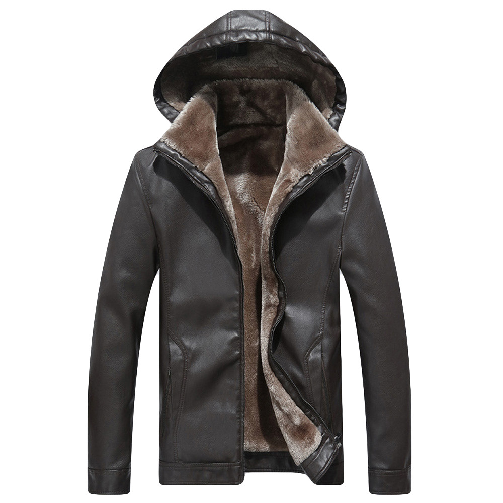 Jacket Men Winter Coat Mens Clothing Fashion Hoodie Pure Color Cashmere Thickening Leather Coat Streetwear Jacket Coat #L4
