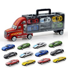 12Pcs/set Mini Cars Toy Model Trucks Scale Models Toy Model Truck With 12 Alloy Cars Children Gift A053
