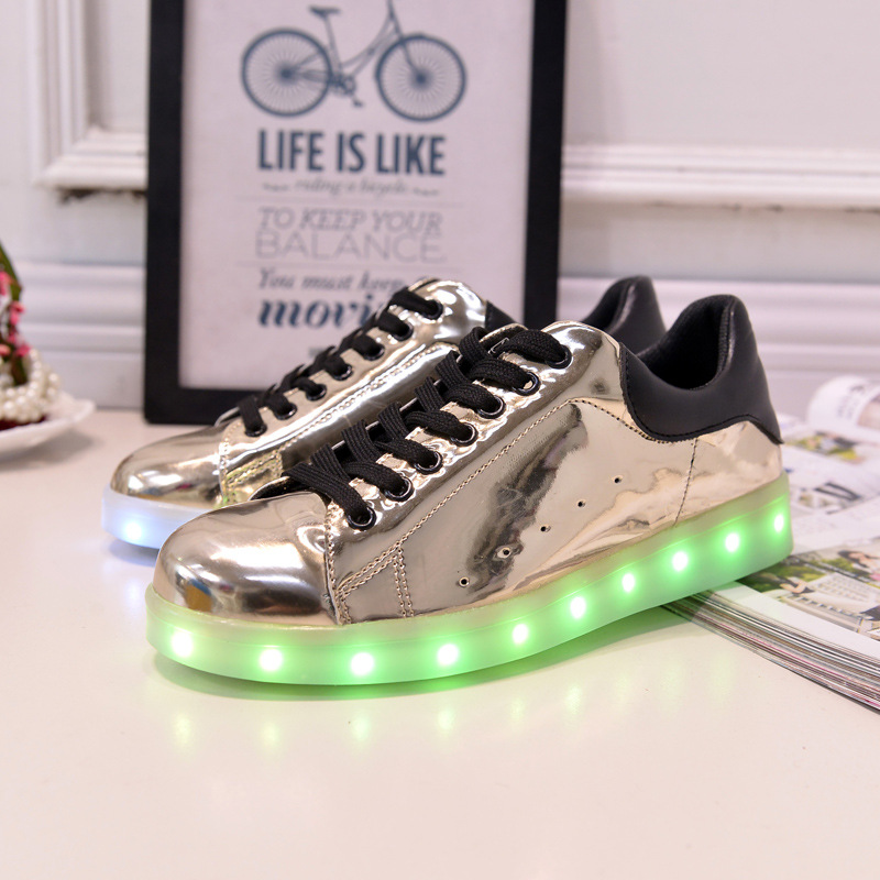 17 Baby Girls Boys LED Light Sneakers Colorful USB Charging for Kids Flashing Casual Flat students children Luminous Shoes 9