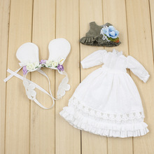 Fortune Days Blyth doll Mori Girl style White dress,Hair decoration,waistcoat Super natural dressing Factory Blyth