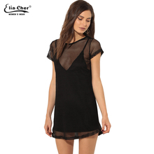 2017 new Perspective Single dress Eliacher brand women sexy dress short sleeve chic elegant party fashion dress vestidos 8938(China)