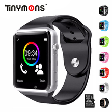 Tinymons Wrist Watch Bluetooth Smart Watches Pedometer With SIM TF card Camera Intelligent Call Clock For IOS Android Phones A1