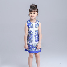 Girl Dress 2015 New Brand Cinderella Dress Dobby Floral Print Kids Dresses for Girls Europe Style Baby Girl Clothes Vestidos