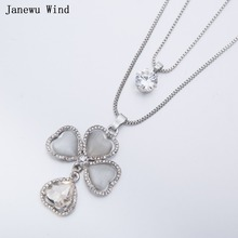 Janewu Wind heart shaped opal Leaf crystal Flower Pendant Necklace female double layers chain Crystal Necklace women(China)
