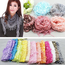 Lace Sheer Floral Print Triangle Veil Scarves Church Mantilla Scarf Shawl Wrap Tassel Scarve