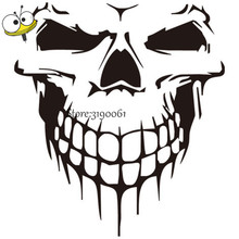 53*59cm SKULL CRACKED HUMAN HEAD Decal Huge Skull Head Sticker For Jeep Cherokee Wrangler Volkswagen Hyundai Ford Cadillac Dadge(China)