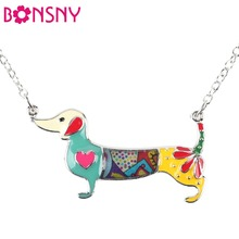 Bonsny Statement Metal Alloy Enamel Dachshund Dog Choker Necklace Chain Collar Pendant 2016 Fashion New Jewelry For Women(China)