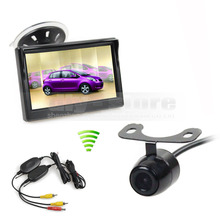DIYKIT 5 inch LCD Display Rear View Car Monitor + Car Camera Wireless Parking Security System Kit