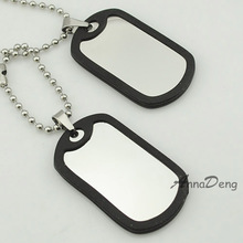 CHIMDOU Army Tactical Style Stainless Steel 2 Dog Tag Chain Men Pendant Necklace Jewelry Smooth metal stamping blanks