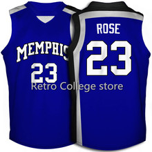 #23 Derrick Rose Memphis Tigers White Blue College Basketball Jersey Embroidery Stitched Customize any size and name