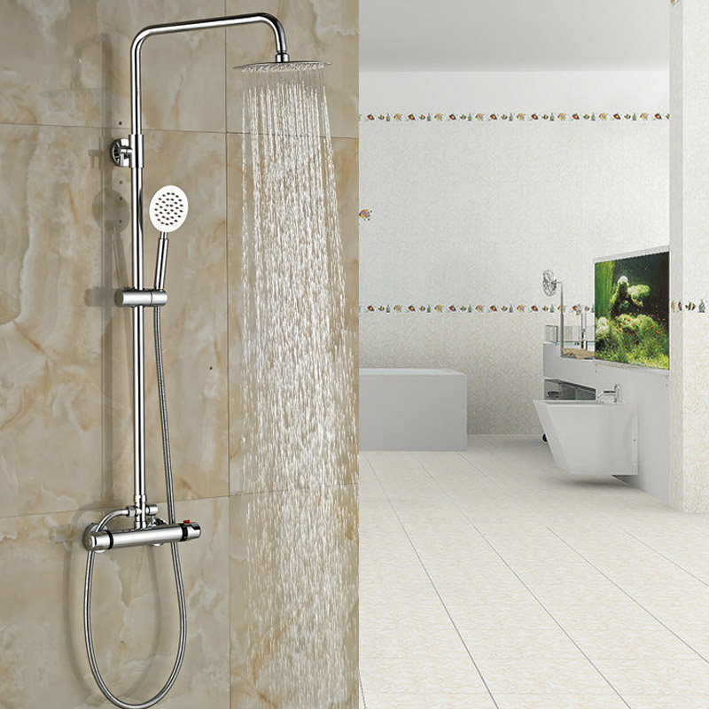 Luxury Thermostatic Shower Faucet Double Handles Shower Set Faucet Wall Mounted 8 Rain Shower Mixers<br><br>Aliexpress