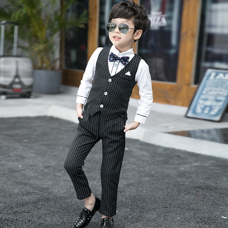 Dollplus 2019 Boys Suit(Vest+Shirt+Pant) Wedding Suits for Boys Tuxedo Suits Baby Boy Blazer Suit Formal Kids Formal 2-10Y