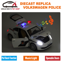 1:32 Scale 15CM Length Diecast Model Beetle Police Cars Toys For Boys As Present With Openable Doors/Pull Back Function/Music(China)