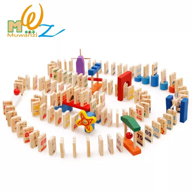 MWZ 100pcs Wooden Domino Blocks Helper Set for Kids Digital Characters Intelligence Building and Stacking Blocks Education Toy<br>