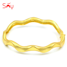 Sunny Jewelry Vintage Jewelry Copper Dubai Open Cuff Bangles Bracelets Water Drop For Women For Party Jewelry Findings Bracelets(China)