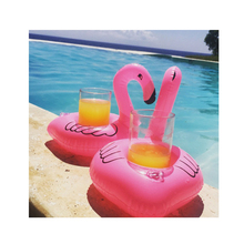 2 PCS Cute Flamingo Drink Holder Inflatable Swimming Floating Bathing Beach Party Kids Float Water Toys(China)