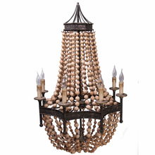 Retro Vintage big round french empire style led E14 wood chandelier modern 6 lights lustre lamp for living room hotel lobby