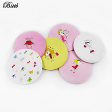 Bittb Lovely Cartoon Pattern Small Makeup Mirror Compact Mirrors,Fashion Portable Grooming Mirror Simple Mirror Make Up Tools