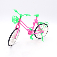 Plastic Green Detachable Bike Toy Bicycle With Basket Doll Accessories For Kids Play Doll Gift Baby Toy For Children(China)