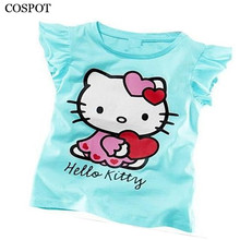 Baby Girls Summer Hello Kitty Tshirt Girl Cute Cotton T-shirt 2017 New Arrival 10C