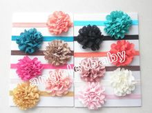 "50 pcs hair accessories for girls 3"" wave Mesh Fabric flower bows  headband flower on stretchy hair band african gele SG8514"
