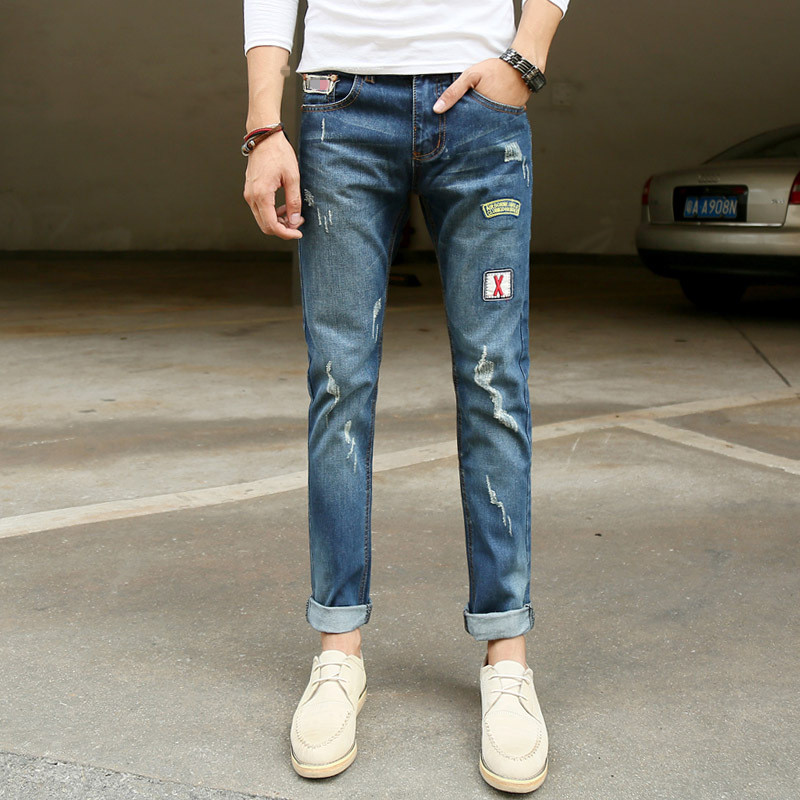 Hot Sale Fashion Men Male Casual Patch Straight Denim Clothing Boy Jeans Blue Slim Jeans Plus SizeОдежда и ак�е��уары<br><br><br>Aliexpress