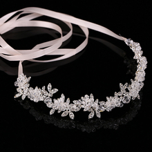 Hot Ladies Silver Crystal Bridal Wedding Tiara Flower Pearls Crystal Chain Headband Hair Clip Comb Jewelry