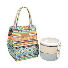 1Pc Portable Insulated Lunch Bag Canvas Material Thermal Insulation Lovely Storage Container for Women kids Men Lunch Box(China)