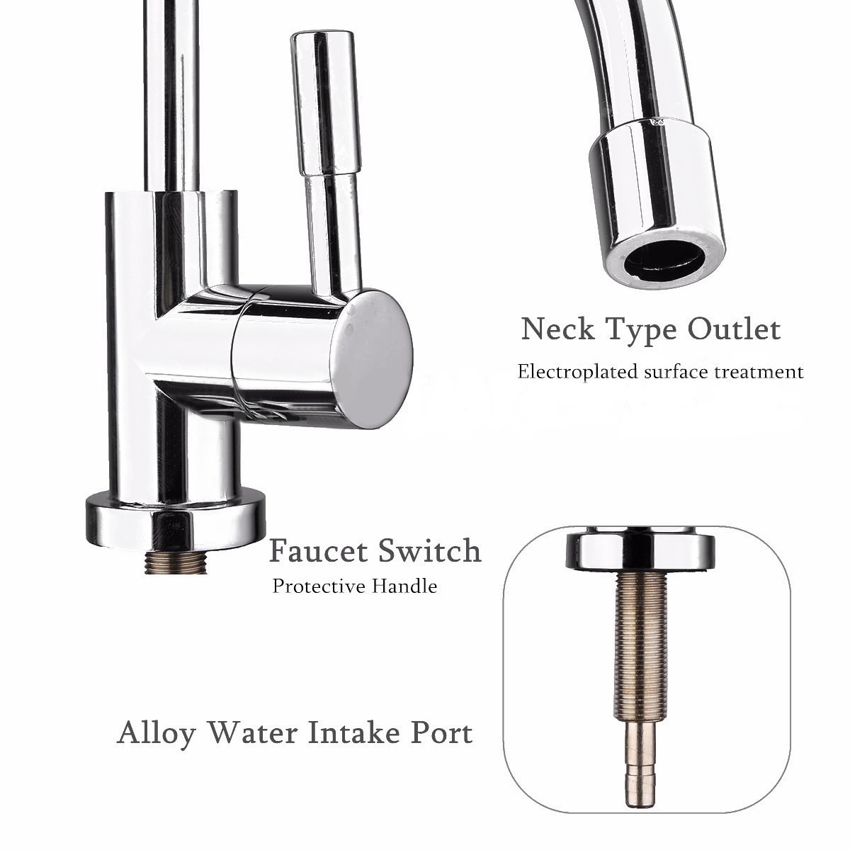 """1pc 304 Stainless Steel Water Filter Faucet 1/4"""" 360 Degree Chrome Osmosis Drinking RO Finish Reverse Sink Faucets"""